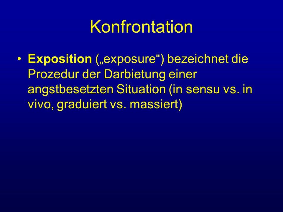 Konfrontation Exposition (exposure) bezeichnet die Prozedur der Darbietung einer angstbesetzten Situation (in sensu vs. in vivo, graduiert vs. massier
