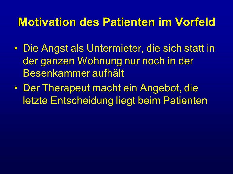 Motivation des Patienten im Vorfeld Die Angst als Untermieter, die sich statt in der ganzen Wohnung nur noch in der Besenkammer aufhält Der Therapeut