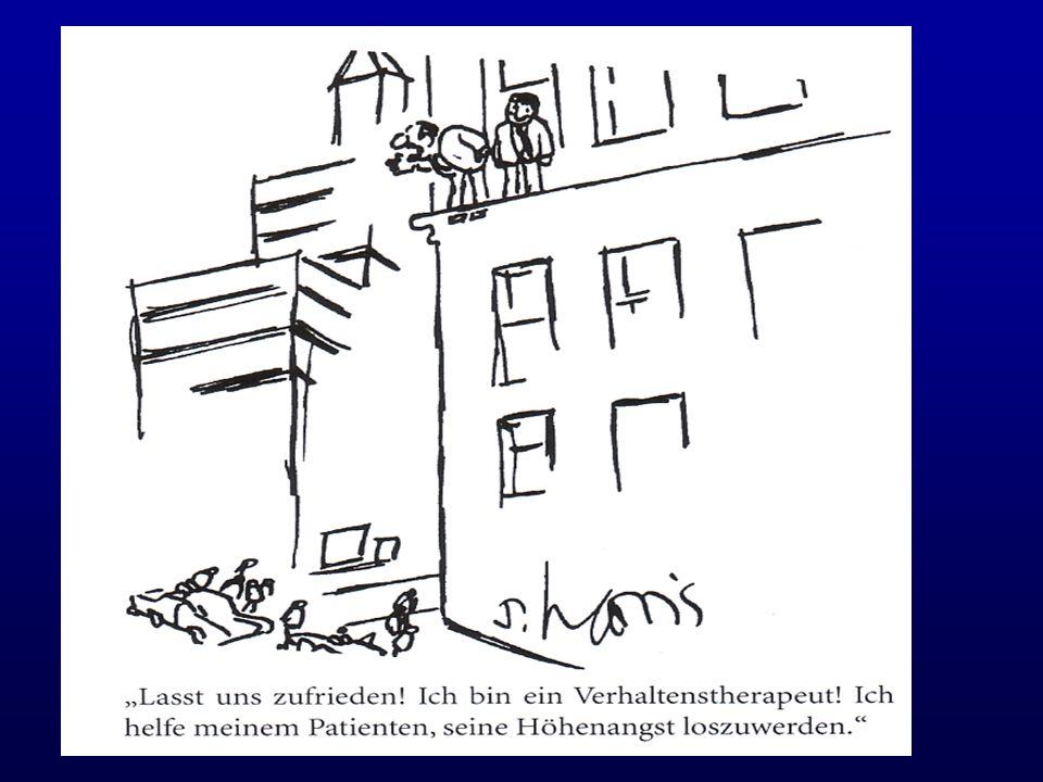 (kognitiv-) verhaltenstherapeutische Angstbehandlung Problemanalyse, Bedingungsanalyse, Funktionsanalyse Psychoedukation Kognitive Strategien (Fehlinterpretationen, Selbstverbalisation) Entspannungsverfahren Angstmanagement (Angstbewältigung) Exposition (Angstlöschung)