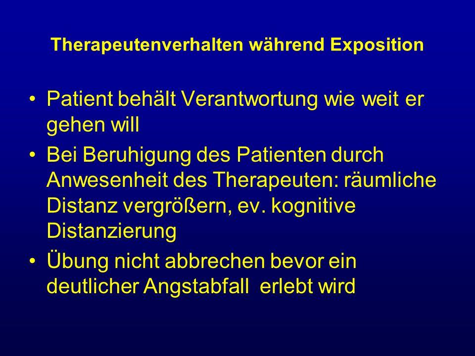 Therapeutenverhalten während Exposition Patient behält Verantwortung wie weit er gehen will Bei Beruhigung des Patienten durch Anwesenheit des Therape