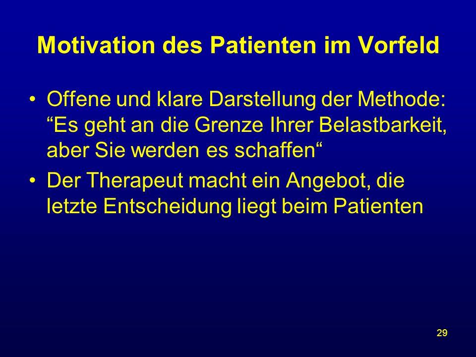 29 Motivation des Patienten im Vorfeld Offene und klare Darstellung der Methode: Es geht an die Grenze Ihrer Belastbarkeit, aber Sie werden es schaffe