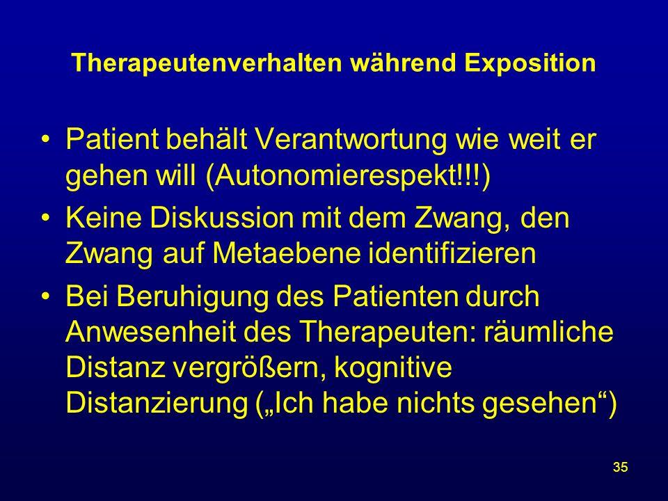 35 Therapeutenverhalten während Exposition Patient behält Verantwortung wie weit er gehen will (Autonomierespekt!!!) Keine Diskussion mit dem Zwang, d
