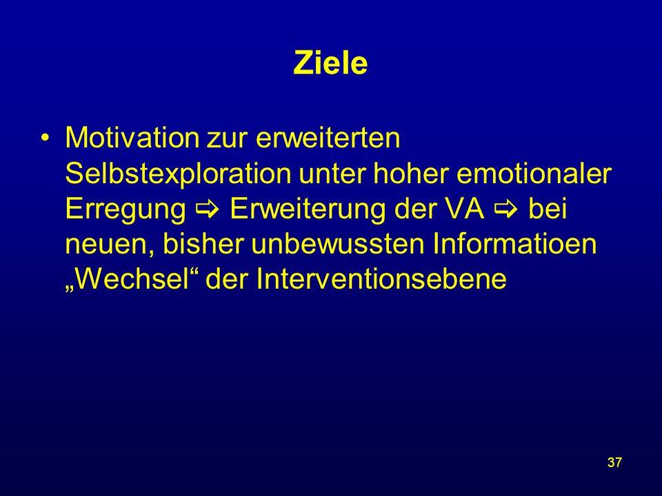 37 Ziele Motivation zur erweiterten Selbstexploration unter hoher emotionaler Erregung Erweiterung der VA bei neuen, bisher unbewussten Informatioen W