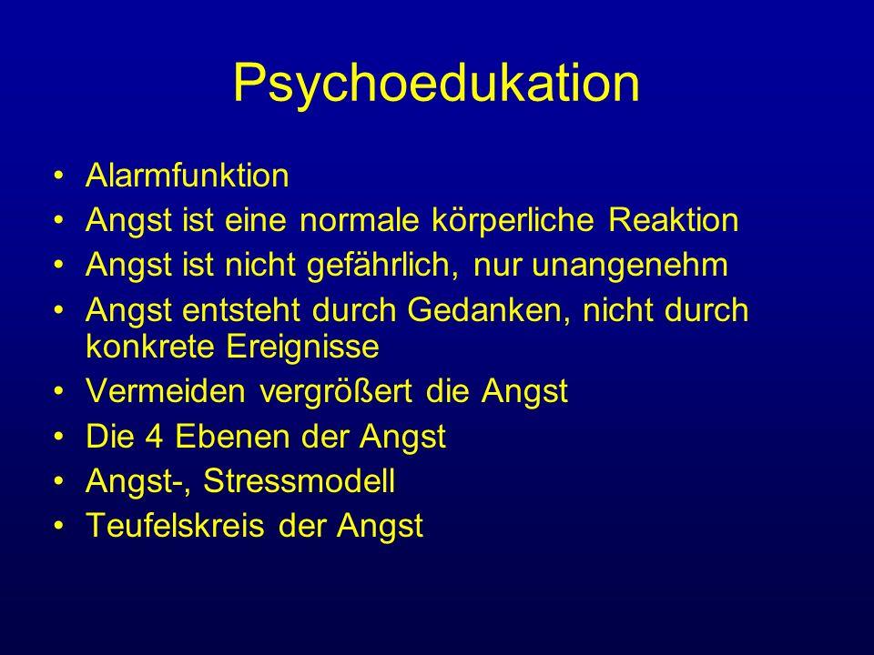 Psychoedukation Alarmfunktion Angst ist eine normale körperliche Reaktion Angst ist nicht gefährlich, nur unangenehm Angst entsteht durch Gedanken, ni