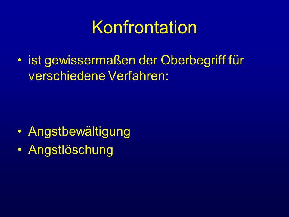 Konfrontation Konfrontationsverfahren werden erst nach Klärung der Therapiemotivation, der Analyse des Problems, der Zielklärung und Zielbestimmung als Interventionstechniken in Übereinkunft mit dem Patienten ausgewählt