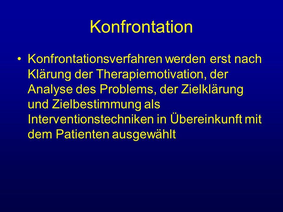 Konfrontation Exposition (exposure) bezeichnet die Prozedur der Darbietung einer angstbesetzten Situation (in sensu vs.