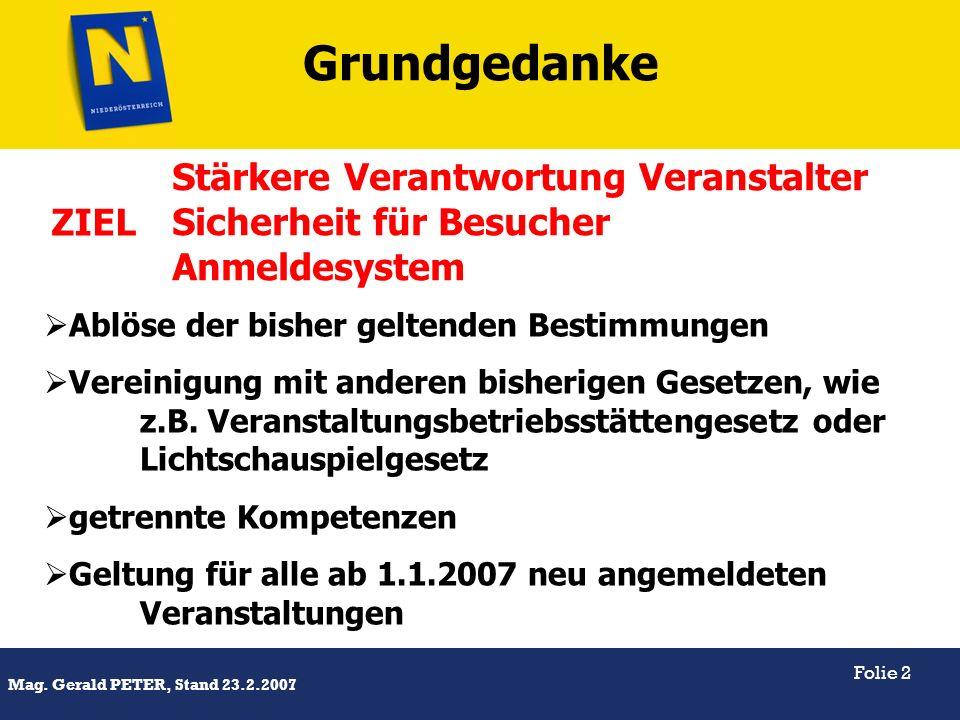 Titel Mag. Gerald PETER, Stand 23.2.2007 Folie 2 Ablöse der bisher geltenden Bestimmungen Vereinigung mit anderen bisherigen Gesetzen, wie z.B. Verans