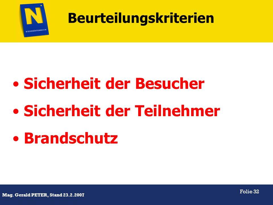 Titel Mag. Gerald PETER, Stand 23.2.2007 Folie 32 Beurteilungskriterien Sicherheit der Besucher Sicherheit der Teilnehmer Brandschutz
