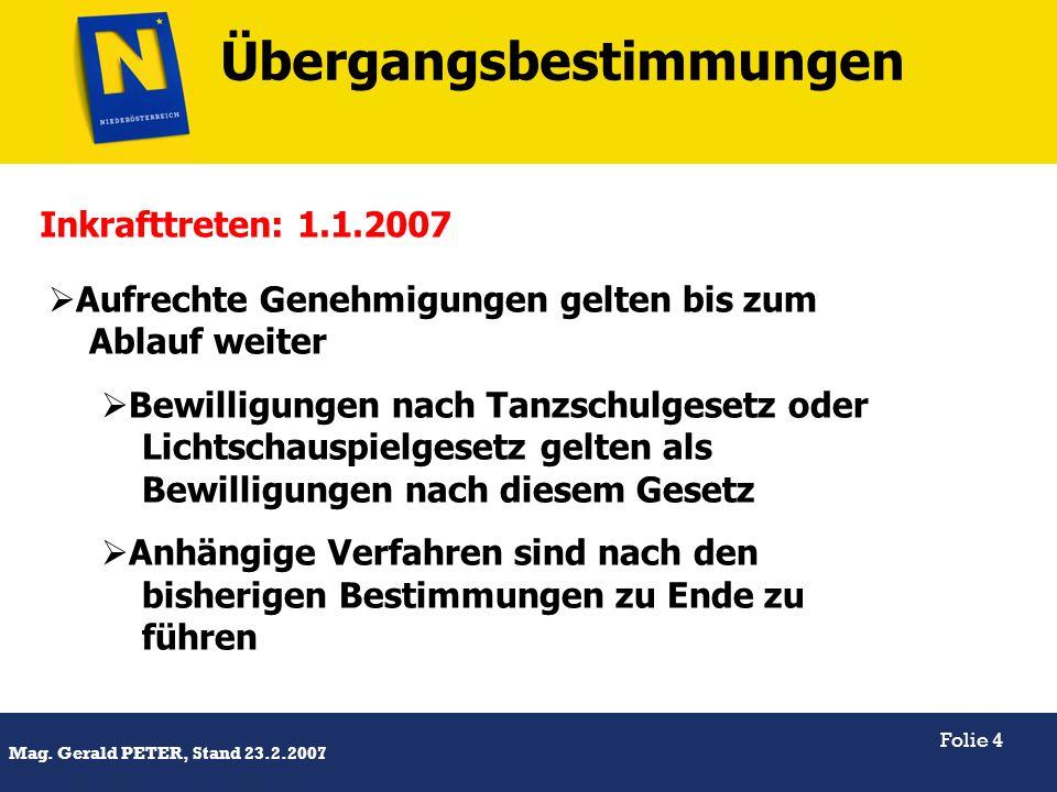Titel Mag. Gerald PETER, Stand 23.2.2007 Folie 4 Aufrechte Genehmigungen gelten bis zum Ablauf weiter Bewilligungen nach Tanzschulgesetz oder Lichtsch