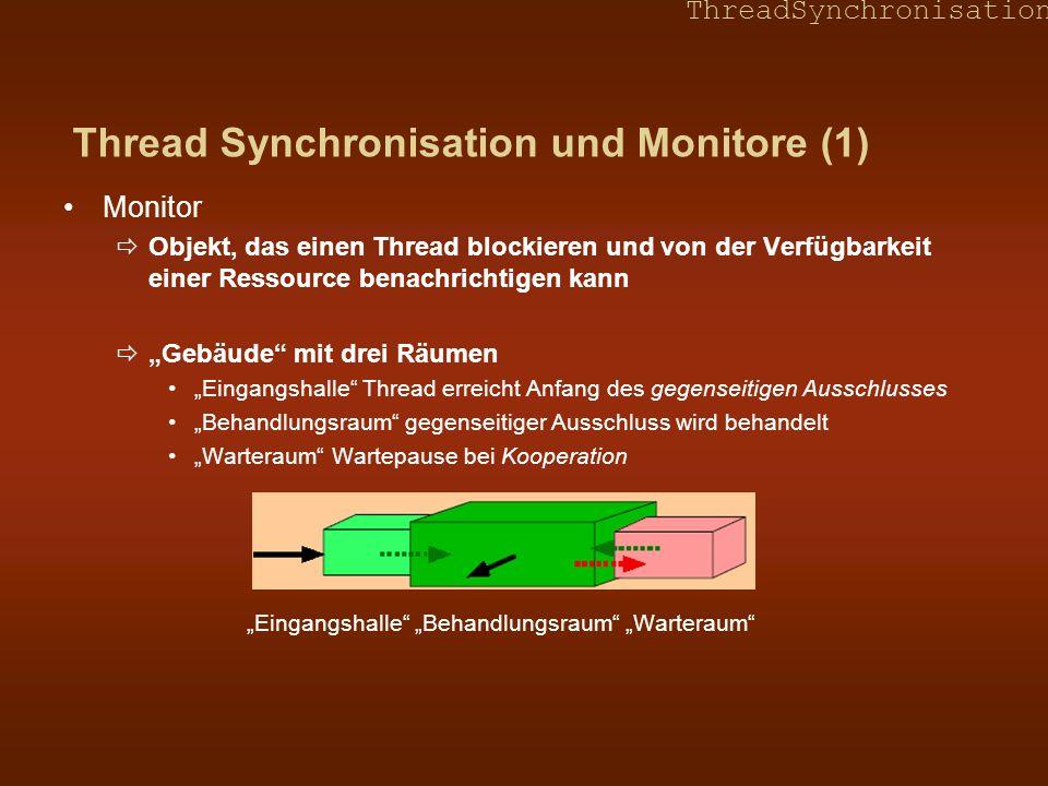 ThreadSynchronisation Beispiel 2.2 – Ungeordnetes Schreiben (Fortsetzung) Methode nach ist synchronisiert, aber Methode von ist nicht synchronisiert class Beispiel { int a = 1, b = 2; synchronized void nach() { a = 3; b = 4; } void von() System.out.println(a=+ a +, b= +b); } } Ein Thread ruft nach und der andere Thread ruft von auf nach Thread wird forciert store nach Hauptspeicher vor unlock am Ende auszuführen to Thread wirduse a und use b in dieser Reihenfolge ausführen und daher load a und load b vom Hauptspeicher laden