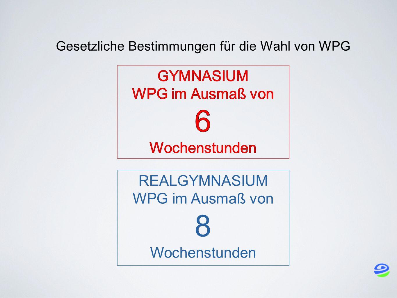 Gesetzliche Bestimmungen für die Wahl von WPG REALGYMNASIUM WPG im Ausmaß von 8 Wochenstunden