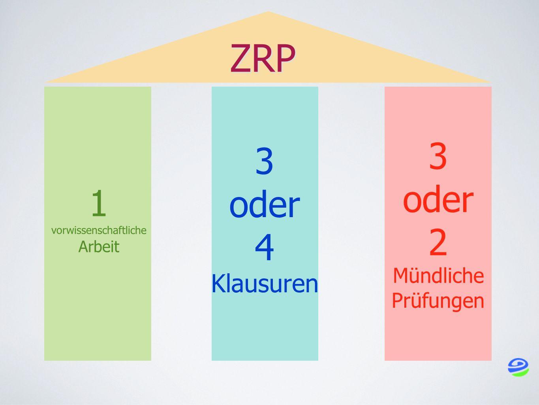 1 vorwissenschaftliche Arbeit 3 oder 2 Mündliche Prüfungen 3 oder 4 Klausuren ZRP