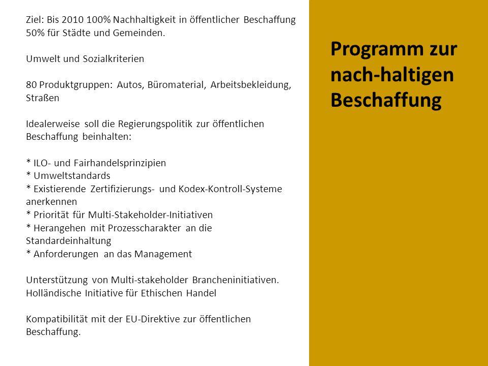 Programm zur nach-haltigen Beschaffung Ziel: Bis 2010 100% Nachhaltigkeit in öffentlicher Beschaffung 50% für Städte und Gemeinden.