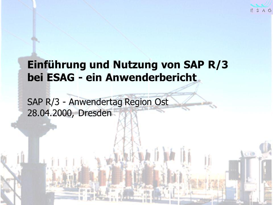28.04.00 Seite 1 Einführung und Nutzung von SAP R/3 bei ESAG - ein Anwenderbericht SAP R/3 - Anwendertag Region Ost 28.04.2000, Dresden