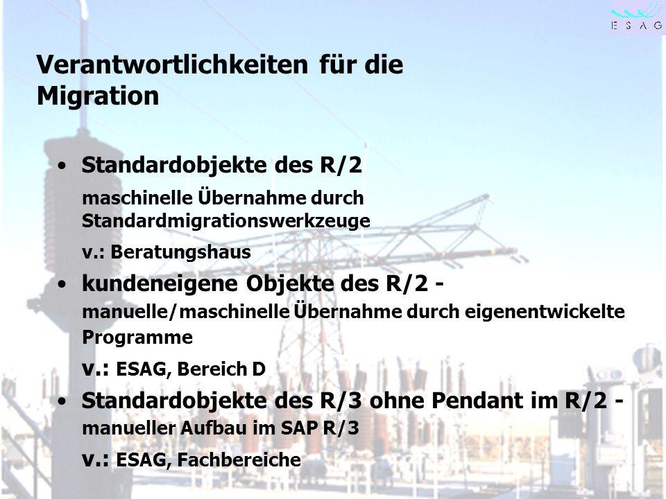 28.04.00 Seite 10 Verantwortlichkeiten für die Migration Standardobjekte des R/2 maschinelle Übernahme durch Standardmigrationswerkzeuge v.: Beratungs