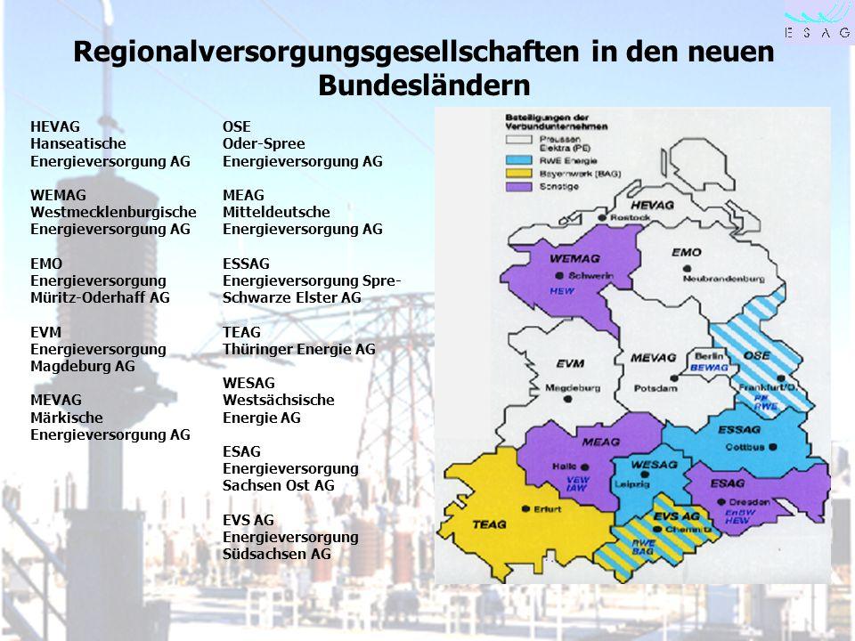 28.04.00 Seite 2 Regionalversorgungsgesellschaften in den neuen Bundesländern OSE Oder-Spree Energieversorgung AG MEAG Mitteldeutsche Energieversorgun