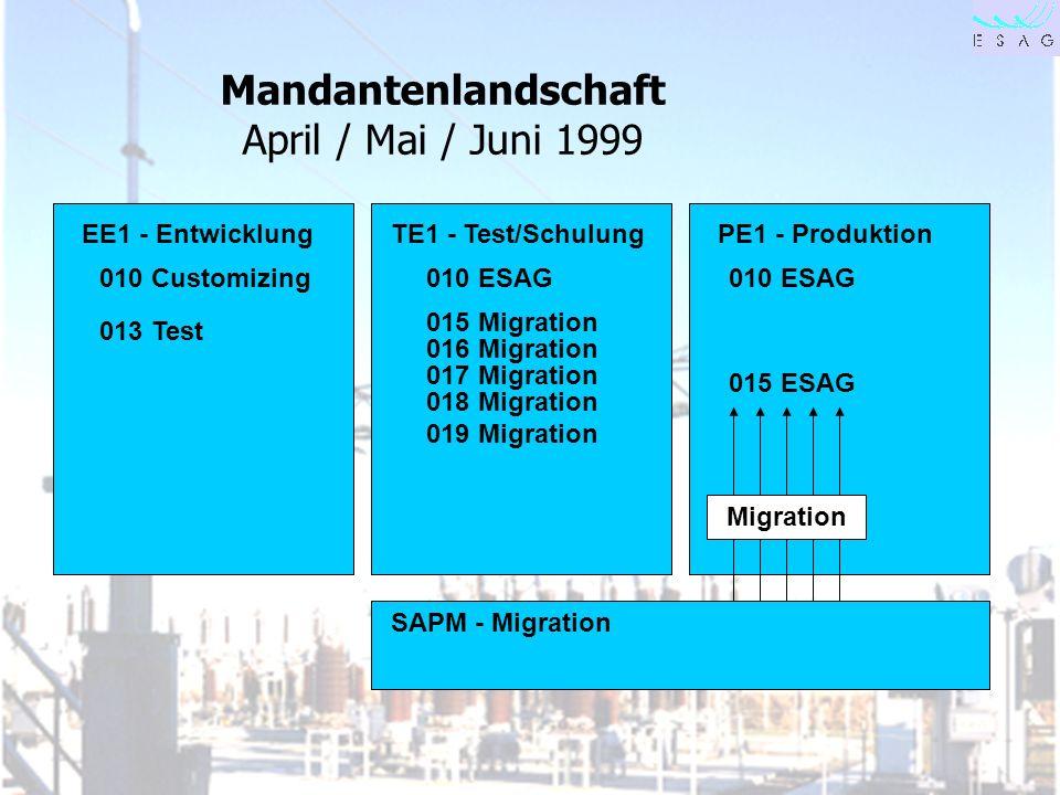 28.04.00 Seite 25 Mandantenlandschaft April / Mai / Juni 1999 EE1 - EntwicklungTE1 - Test/SchulungPE1 - Produktion SAPM - Migration 010 Customizing010
