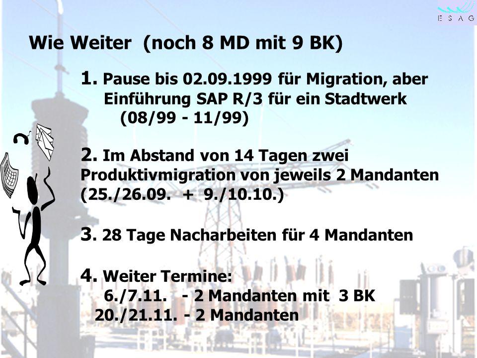 28.04.00 Seite 28 Wie Weiter (noch 8 MD mit 9 BK) 1. Pause bis 02.09.1999 für Migration, aber Einführung SAP R/3 für ein Stadtwerk (08/99 - 11/99) 2.