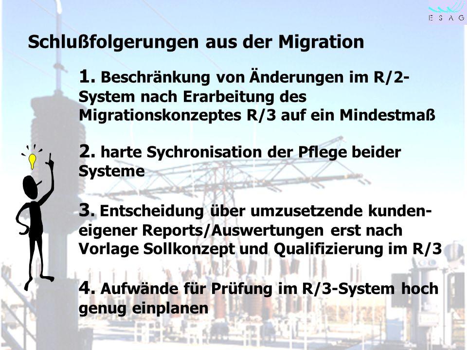 28.04.00 Seite 29 Schlußfolgerungen aus der Migration 1. Beschränkung von Änderungen im R/2- System nach Erarbeitung des Migrationskonzeptes R/3 auf e