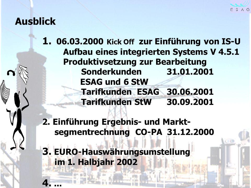 28.04.00 Seite 31 Ausblick 1. 06.03.2000 Kick Off zur Einführung von IS-U Aufbau eines integrierten Systems V 4.5.1 Produktivsetzung zur Bearbeitung S