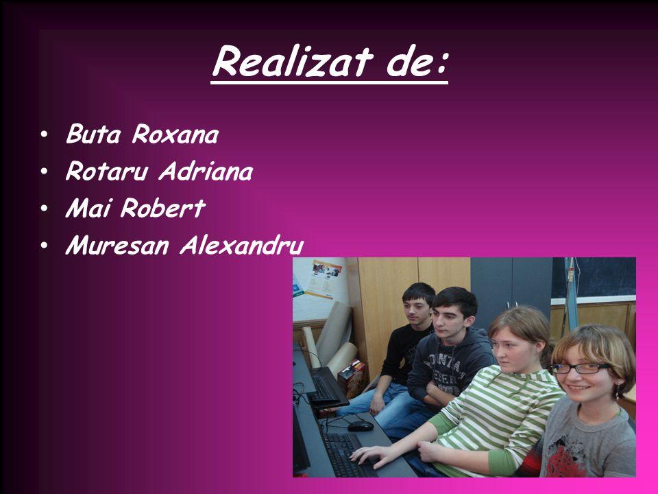 Realizat de: Buta Roxana Rotaru Adriana Mai Robert Muresan Alexandru