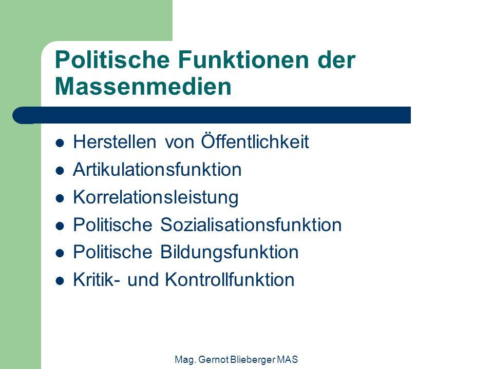 Mag. Gernot Blieberger MAS Politische Funktionen der Massenmedien Herstellen von Öffentlichkeit Artikulationsfunktion Korrelationsleistung Politische