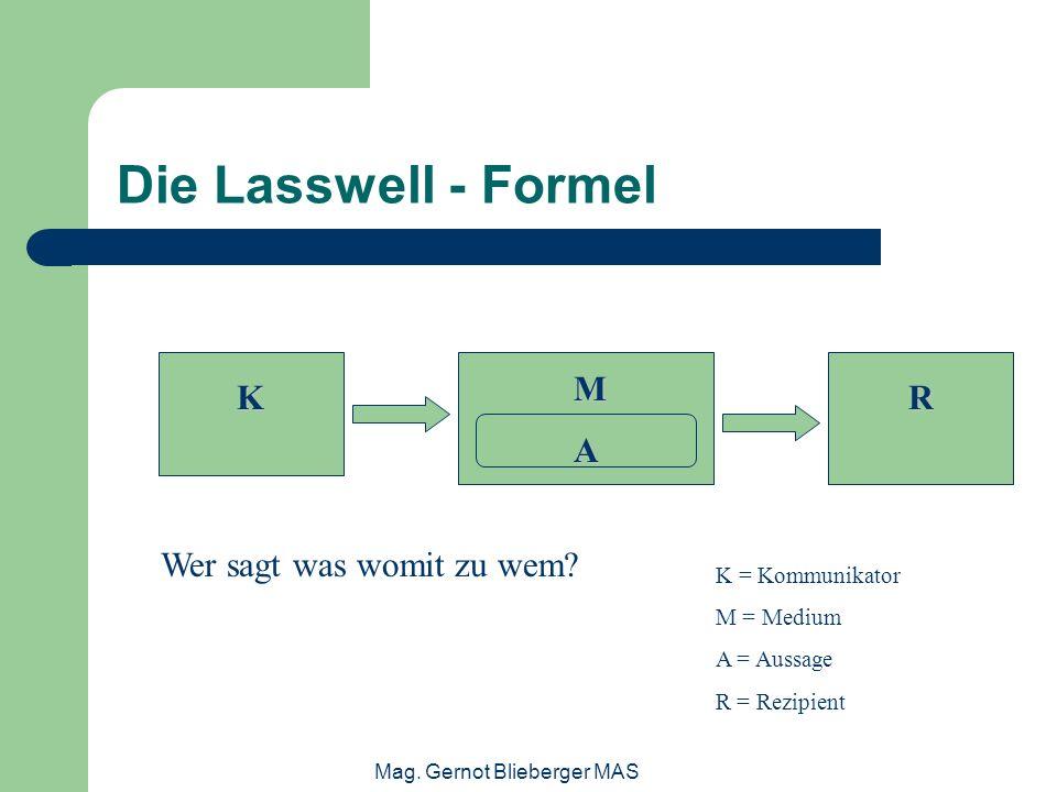 Mag. Gernot Blieberger MAS Die Lasswell - Formel K M A R Wer sagt was womit zu wem? K = Kommunikator M = Medium A = Aussage R = Rezipient