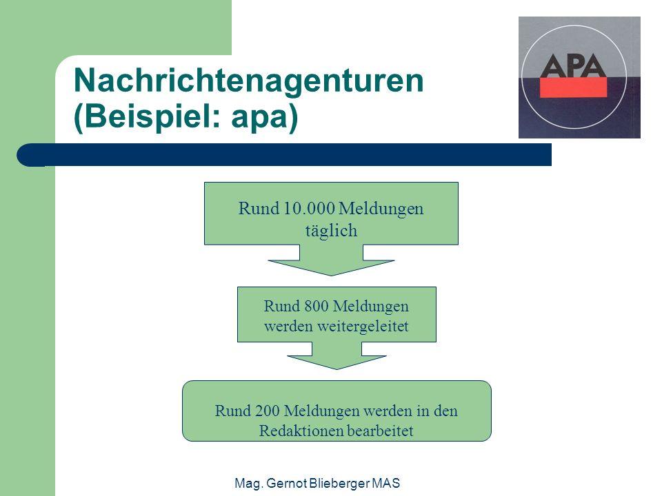 Mag. Gernot Blieberger MAS Nachrichtenagenturen (Beispiel: apa) Rund 10.000 Meldungen täglich Rund 800 Meldungen werden weitergeleitet Rund 200 Meldun