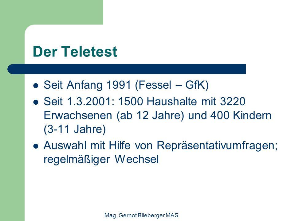 Mag. Gernot Blieberger MAS Der Teletest Seit Anfang 1991 (Fessel – GfK) Seit 1.3.2001: 1500 Haushalte mit 3220 Erwachsenen (ab 12 Jahre) und 400 Kinde