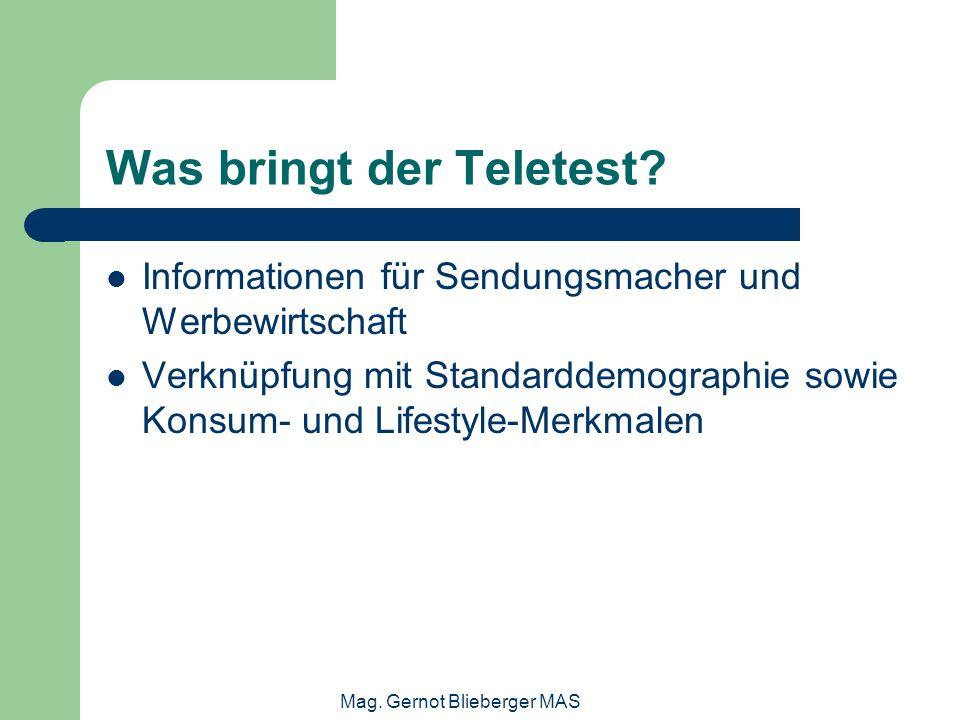 Mag. Gernot Blieberger MAS Was bringt der Teletest? Informationen für Sendungsmacher und Werbewirtschaft Verknüpfung mit Standarddemographie sowie Kon