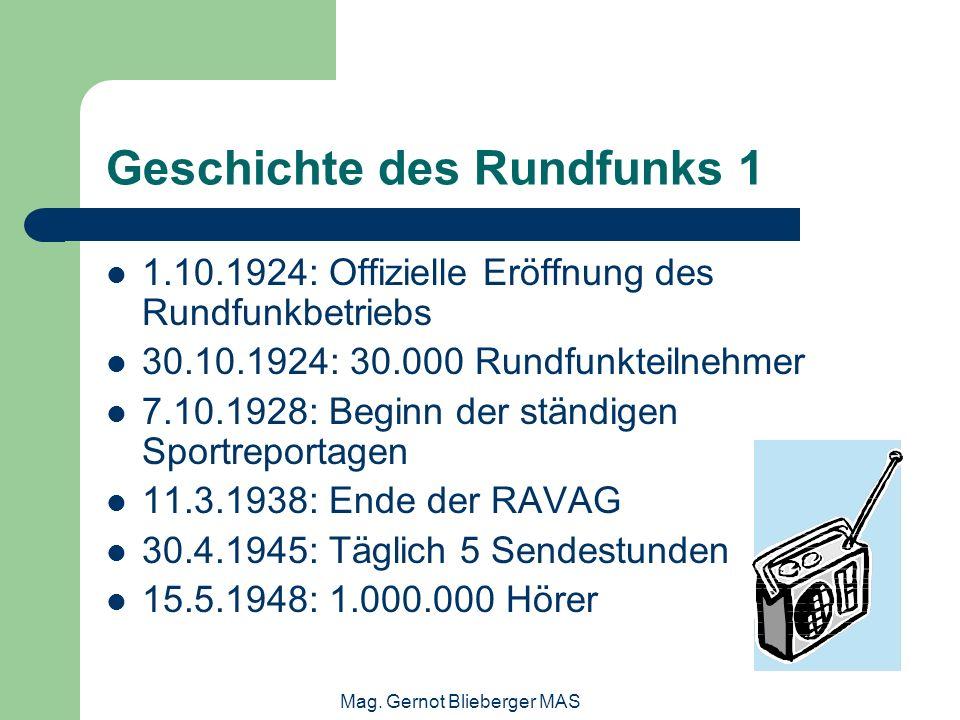 Mag. Gernot Blieberger MAS Geschichte des Rundfunks 1 1.10.1924: Offizielle Eröffnung des Rundfunkbetriebs 30.10.1924: 30.000 Rundfunkteilnehmer 7.10.