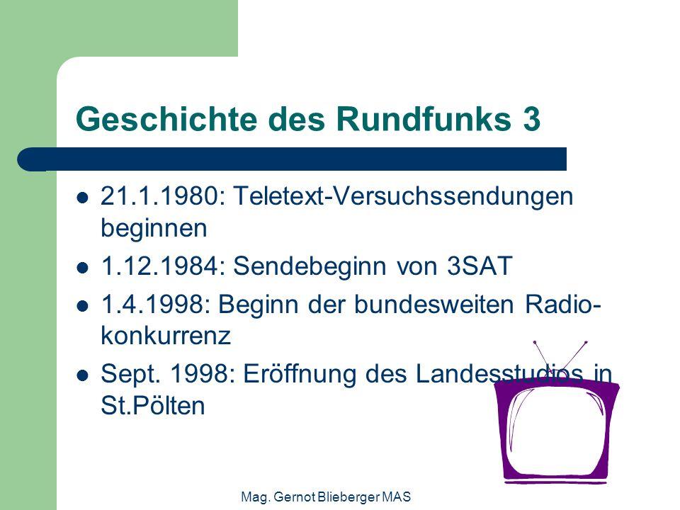 Mag. Gernot Blieberger MAS Geschichte des Rundfunks 3 21.1.1980: Teletext-Versuchssendungen beginnen 1.12.1984: Sendebeginn von 3SAT 1.4.1998: Beginn