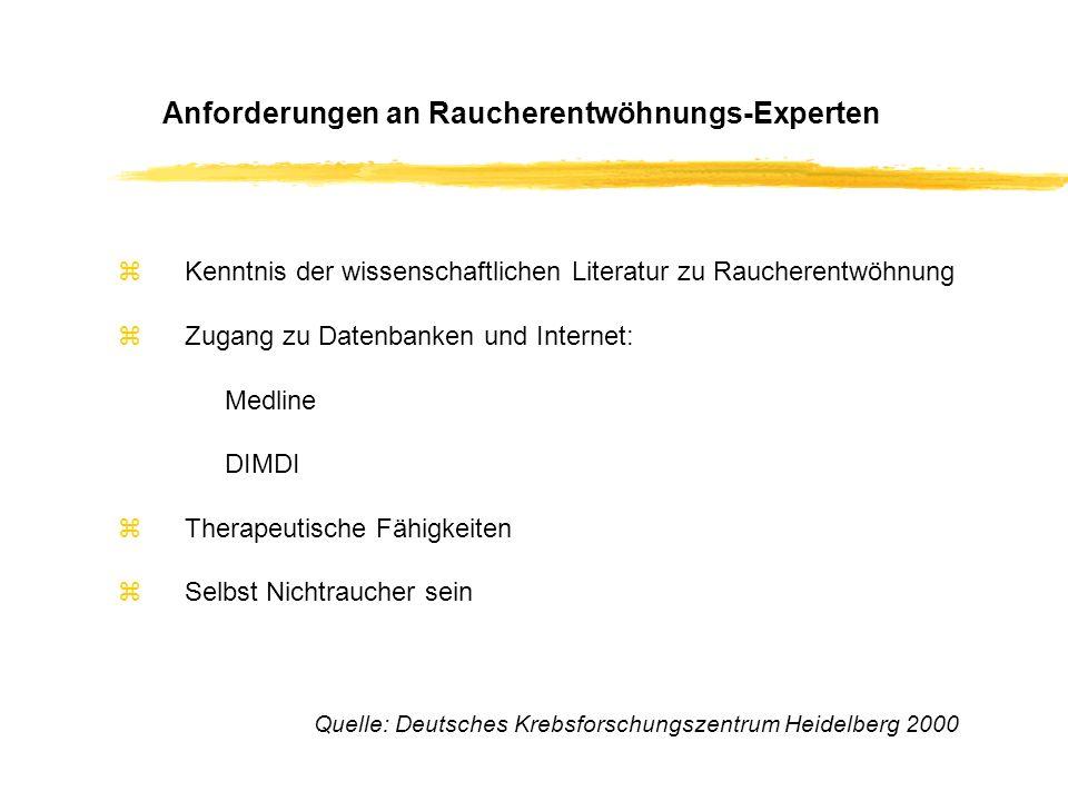 zKenntnis der wissenschaftlichen Literatur zu Raucherentwöhnung zZugang zu Datenbanken und Internet: Medline DIMDI zTherapeutische Fähigkeiten zSelbst Nichtraucher sein Anforderungen an Raucherentwöhnungs-Experten Quelle: Deutsches Krebsforschungszentrum Heidelberg 2000
