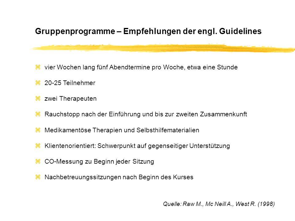 Gruppenprogramme – Empfehlungen der engl.