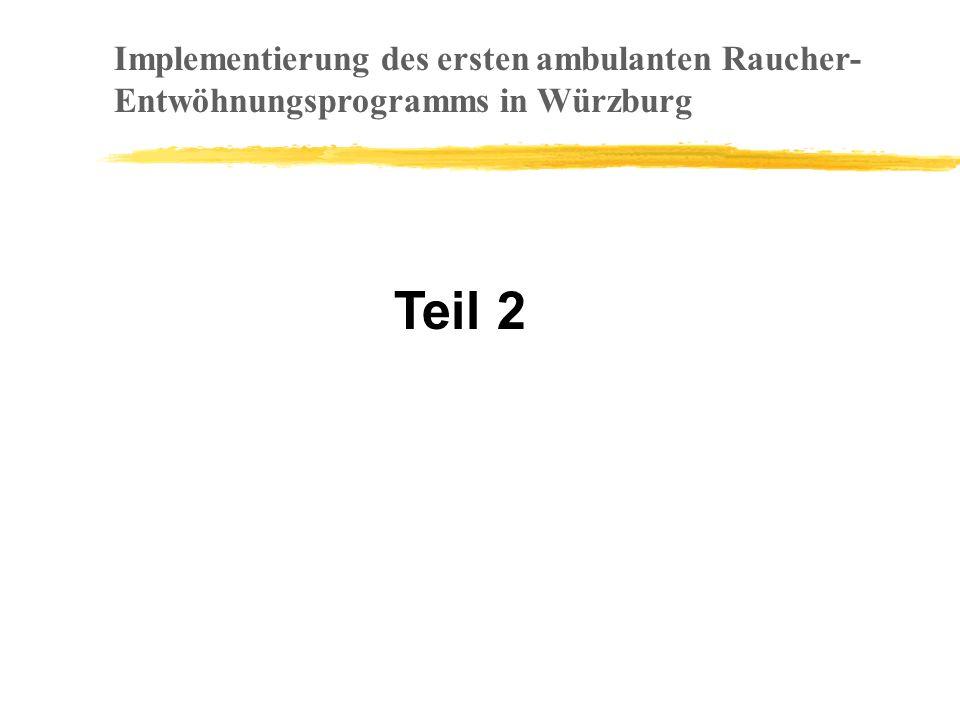 Teil 2 Implementierung des ersten ambulanten Raucher- Entwöhnungsprogramms in Würzburg