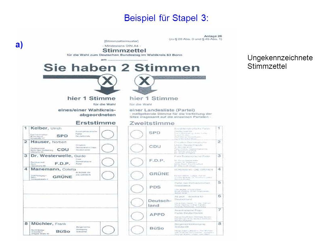 Beispiel für Stapel 3: Ungekennzeichnete Stimmzettel a)