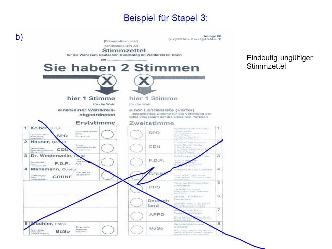 Beispiel für Stapel 3: Eindeutig ungültiger Stimmzettel b)