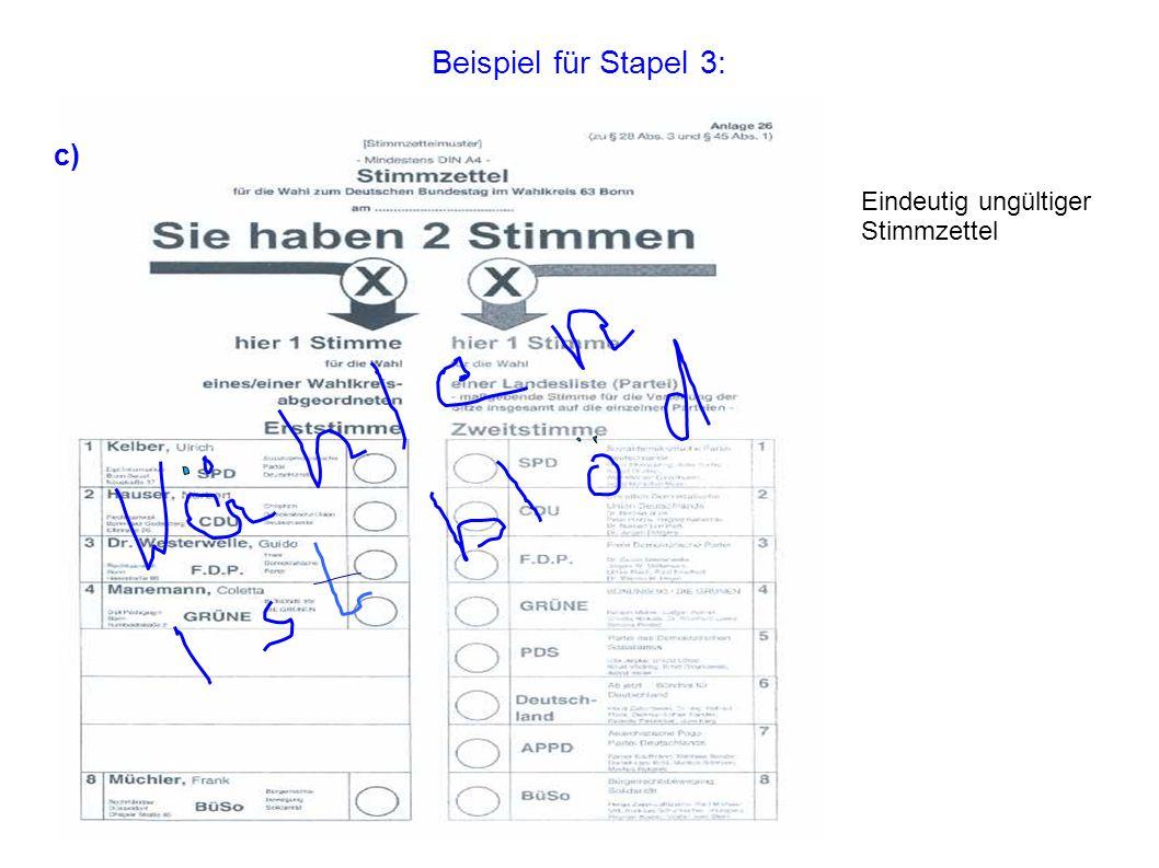 Beispiel für Stapel 3: Eindeutig ungültiger Stimmzettel c)
