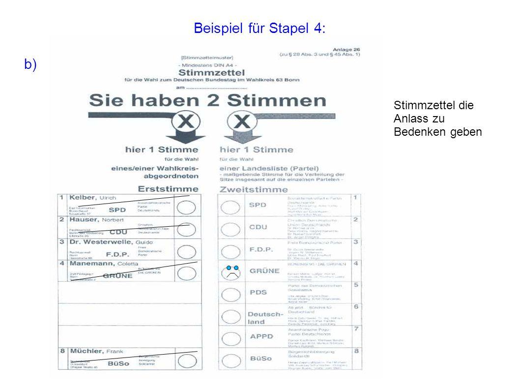 Beispiel für Stapel 4: b) Stimmzettel die Anlass zu Bedenken geben