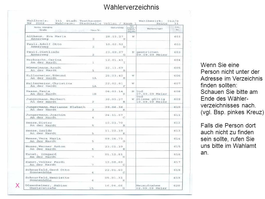 Wählerverzeichnis X Wenn Sie eine Person nicht unter der Adresse im Verzeichnis finden sollten: Schauen Sie bitte am Ende des Wähler- verzeichnisses n