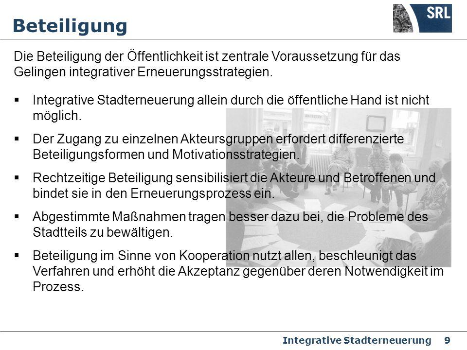 Integrative Stadterneuerung 9 Integrative Stadterneuerung allein durch die öffentliche Hand ist nicht möglich. Der Zugang zu einzelnen Akteursgruppen