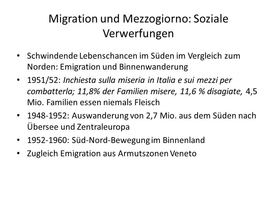 Migration und Mezzogiorno: Soziale Verwerfungen Schwindende Lebenschancen im Süden im Vergleich zum Norden: Emigration und Binnenwanderung 1951/52: In