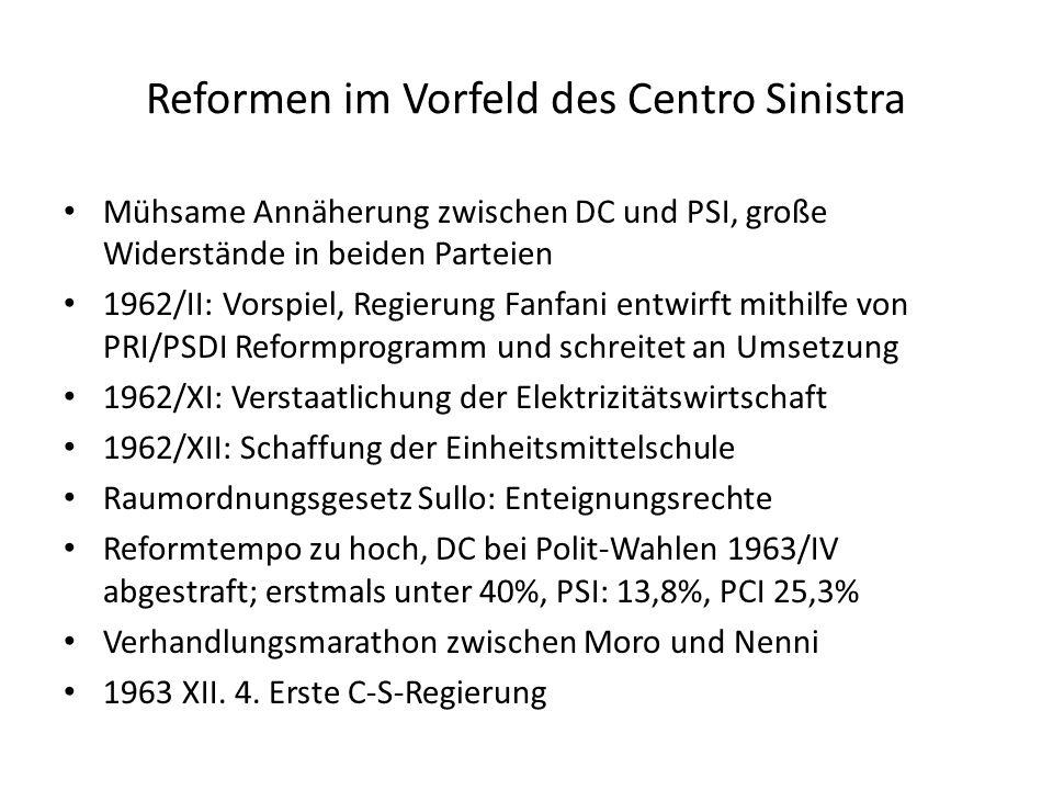 Reformen im Vorfeld des Centro Sinistra Mühsame Annäherung zwischen DC und PSI, große Widerstände in beiden Parteien 1962/II: Vorspiel, Regierung Fanf