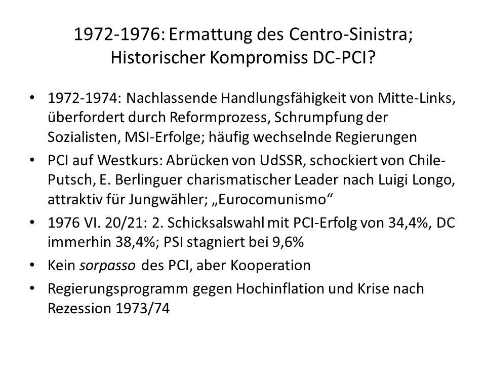 1972-1976: Ermattung des Centro-Sinistra; Historischer Kompromiss DC-PCI? 1972-1974: Nachlassende Handlungsfähigkeit von Mitte-Links, überfordert durc