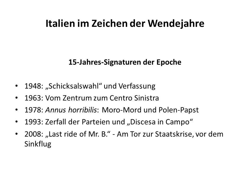 Italien im Zeichen der Wendejahre 15-Jahres-Signaturen der Epoche 1948: Schicksalswahl und Verfassung 1963: Vom Zentrum zum Centro Sinistra 1978: Annu