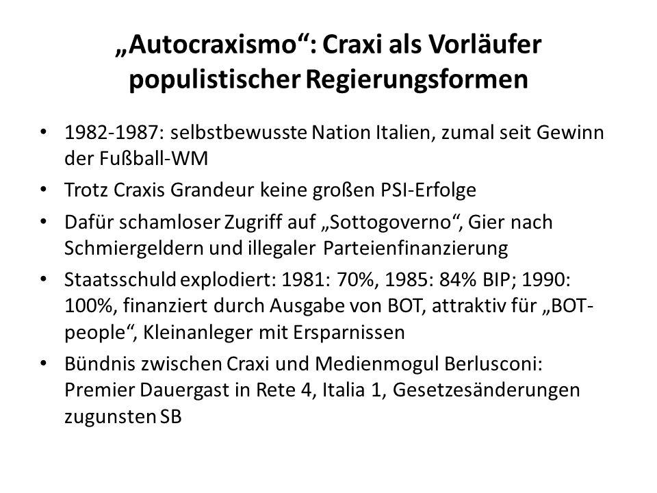 Autocraxismo: Craxi als Vorläufer populistischer Regierungsformen 1982-1987: selbstbewusste Nation Italien, zumal seit Gewinn der Fußball-WM Trotz Cra