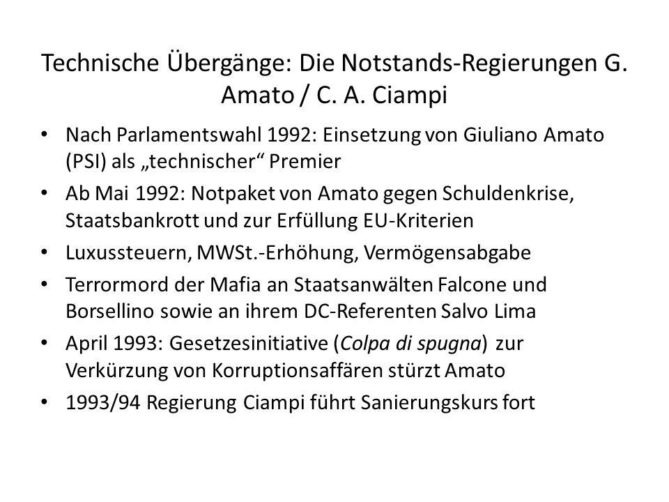 Technische Übergänge: Die Notstands-Regierungen G. Amato / C. A. Ciampi Nach Parlamentswahl 1992: Einsetzung von Giuliano Amato (PSI) als technischer