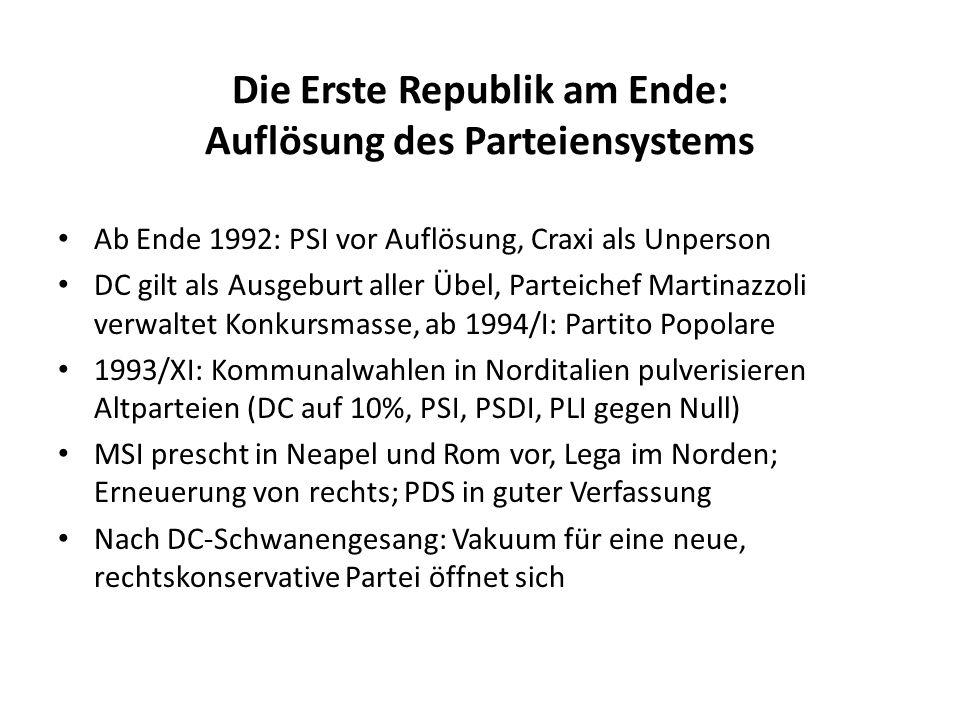 Die Erste Republik am Ende: Auflösung des Parteiensystems Ab Ende 1992: PSI vor Auflösung, Craxi als Unperson DC gilt als Ausgeburt aller Übel, Partei