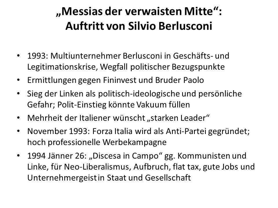 Messias der verwaisten Mitte: Auftritt von Silvio Berlusconi 1993: Multiunternehmer Berlusconi in Geschäfts- und Legitimationskrise, Wegfall politisch