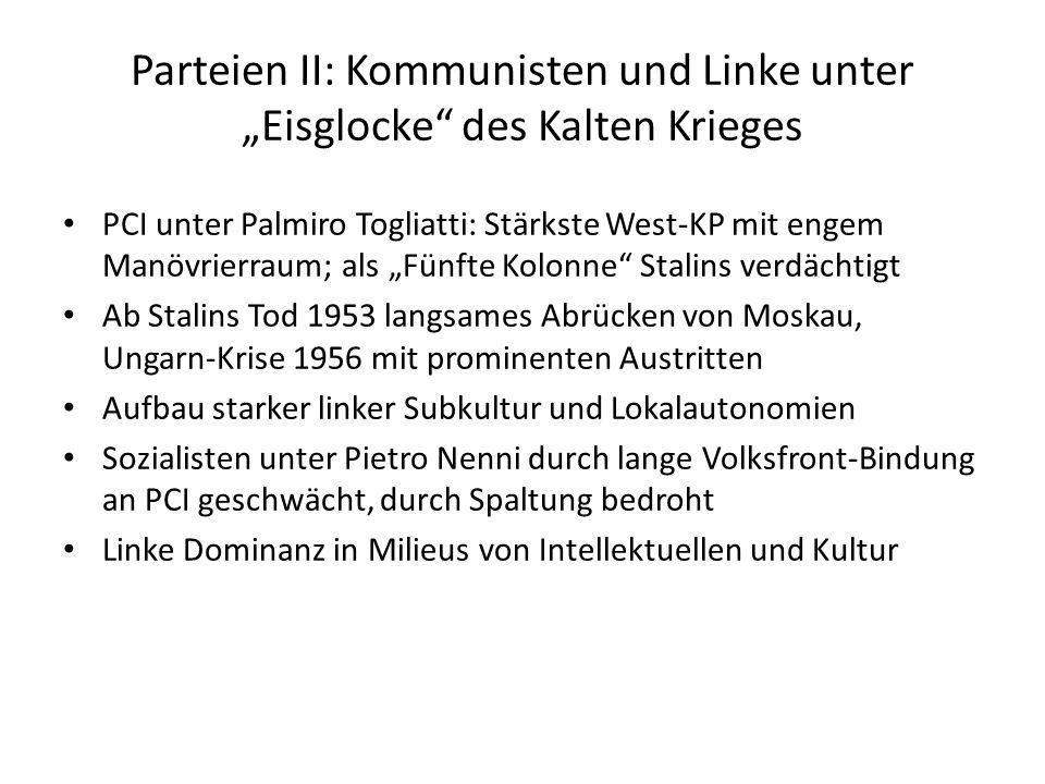 Parteien II: Kommunisten und Linke unter Eisglocke des Kalten Krieges PCI unter Palmiro Togliatti: Stärkste West-KP mit engem Manövrierraum; als Fünft